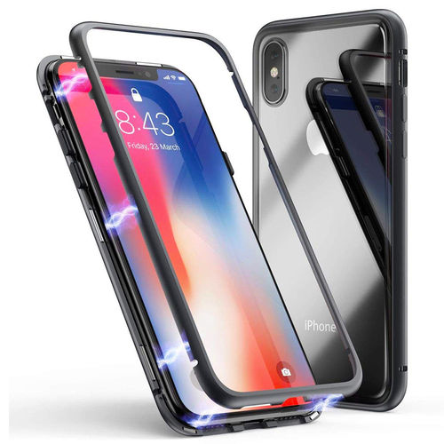 Detachable Magnetic Metal Frame + Clear Glass Back Case - iPhone Xs
